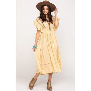 Free People Bali Will Wait Midi Peasant Dress